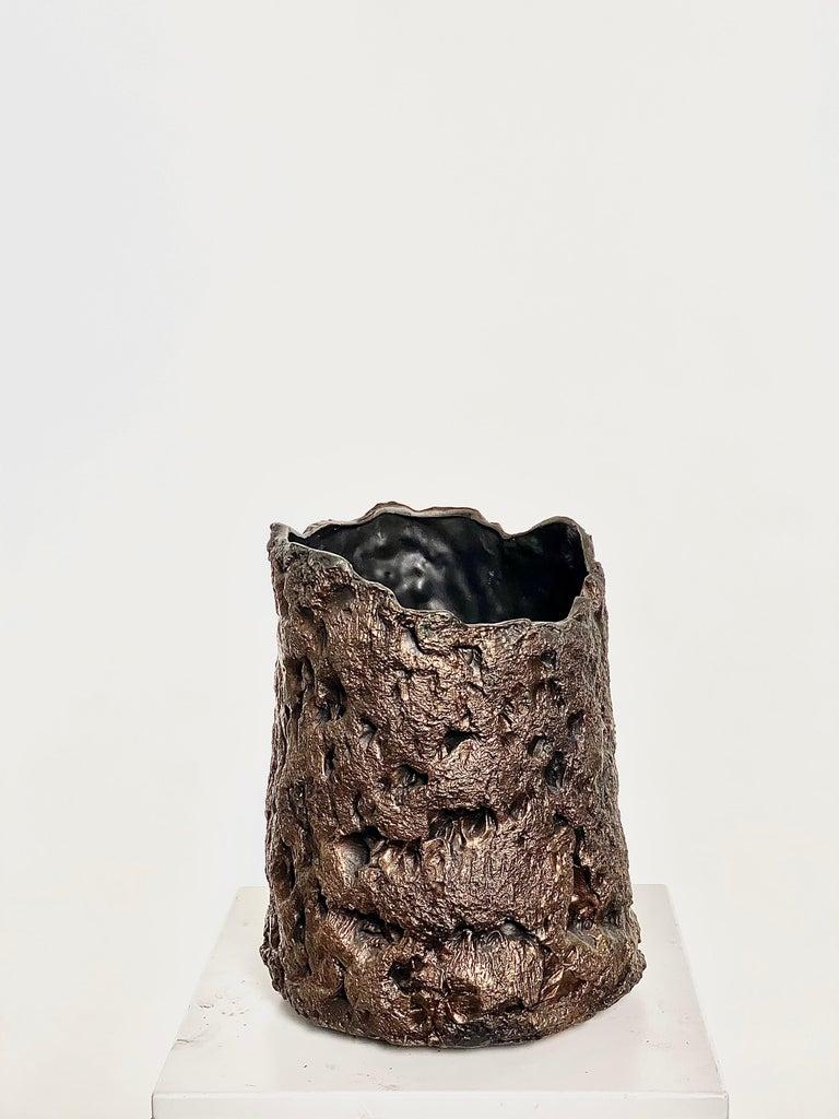 American  Sculptural Bronze Vase, 21st Century by Mattia Biagi For Sale