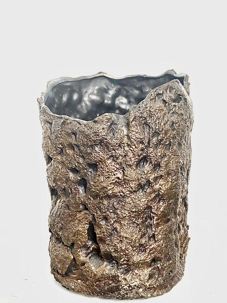 Contemporary  Sculptural Bronze Vase, 21st Century by Mattia Biagi For Sale