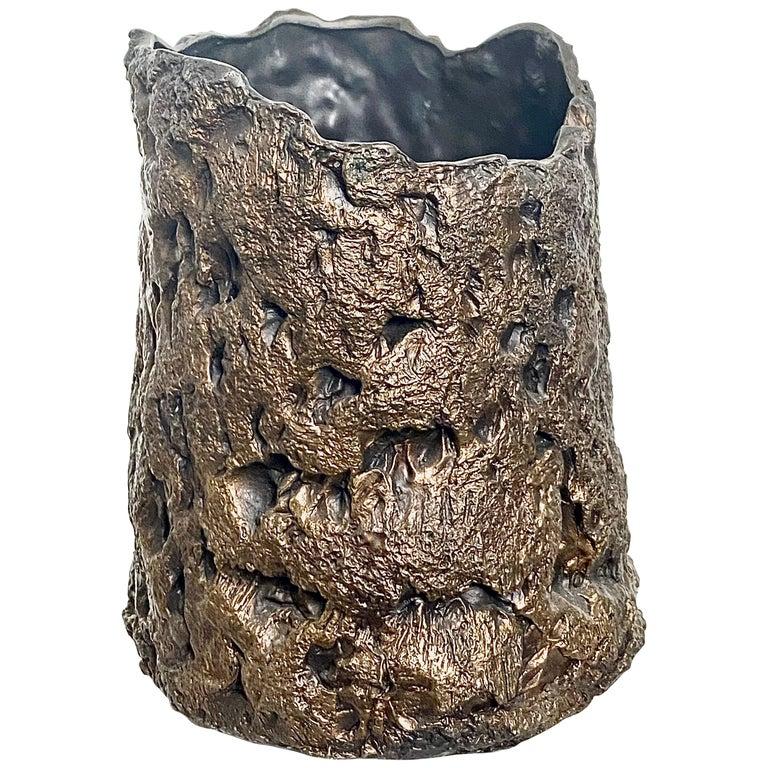 Sculptural Bronze Vase, 21st Century by Mattia Biagi For Sale