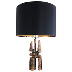 Sculptural Brutalist Bronze Table Lamp, Germany, 1960s