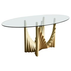 Sculptural Brutalist Dining Table from the 1970s, Travertine and Glass