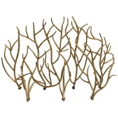 Sculptural Brutalist Organic Gilt Metal Fireplace Screen