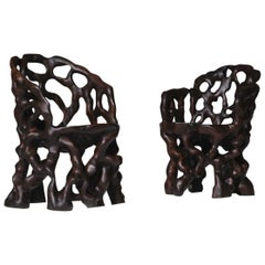 Sculptural Carved Wooden 'Root' Chairs
