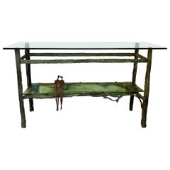 Sculptural Cast Bronze and Glass Table by Ruth Bloch