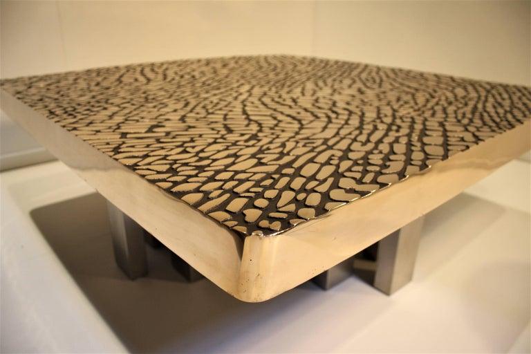 Belgian Sculptural Cast Bronze Coffee Table, 1985 For Sale
