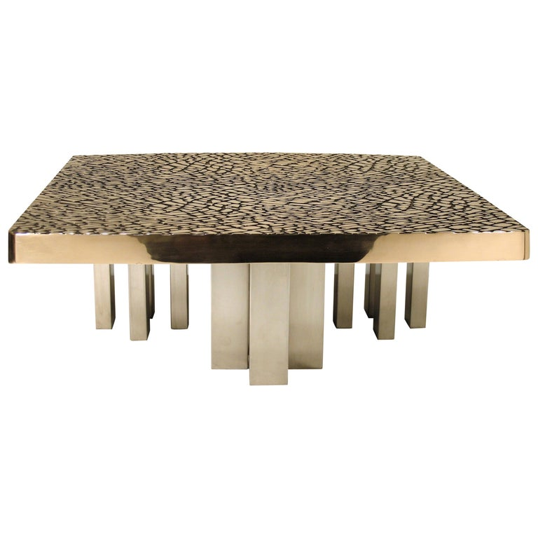 Sculptural Cast Bronze Coffee Table, 1985 For Sale