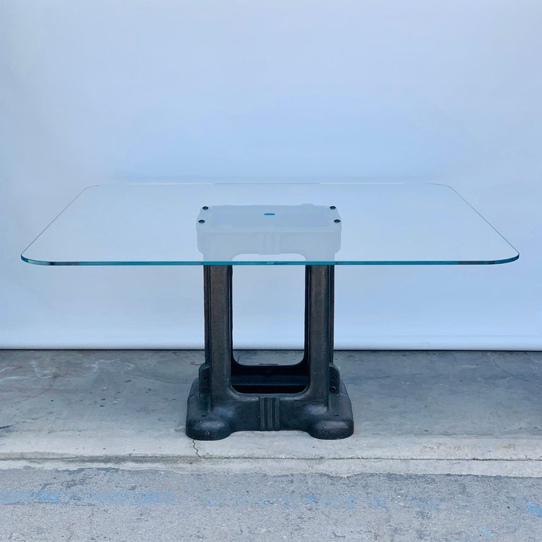 North American Sculptural Cast Iron Pedestal and Glass Industrial Dining / Work Table For Sale