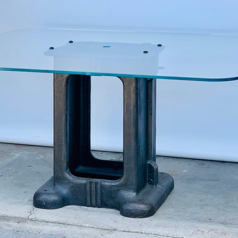 Patinated Sculptural Cast Iron Pedestal and Glass Industrial Dining / Work Table For Sale