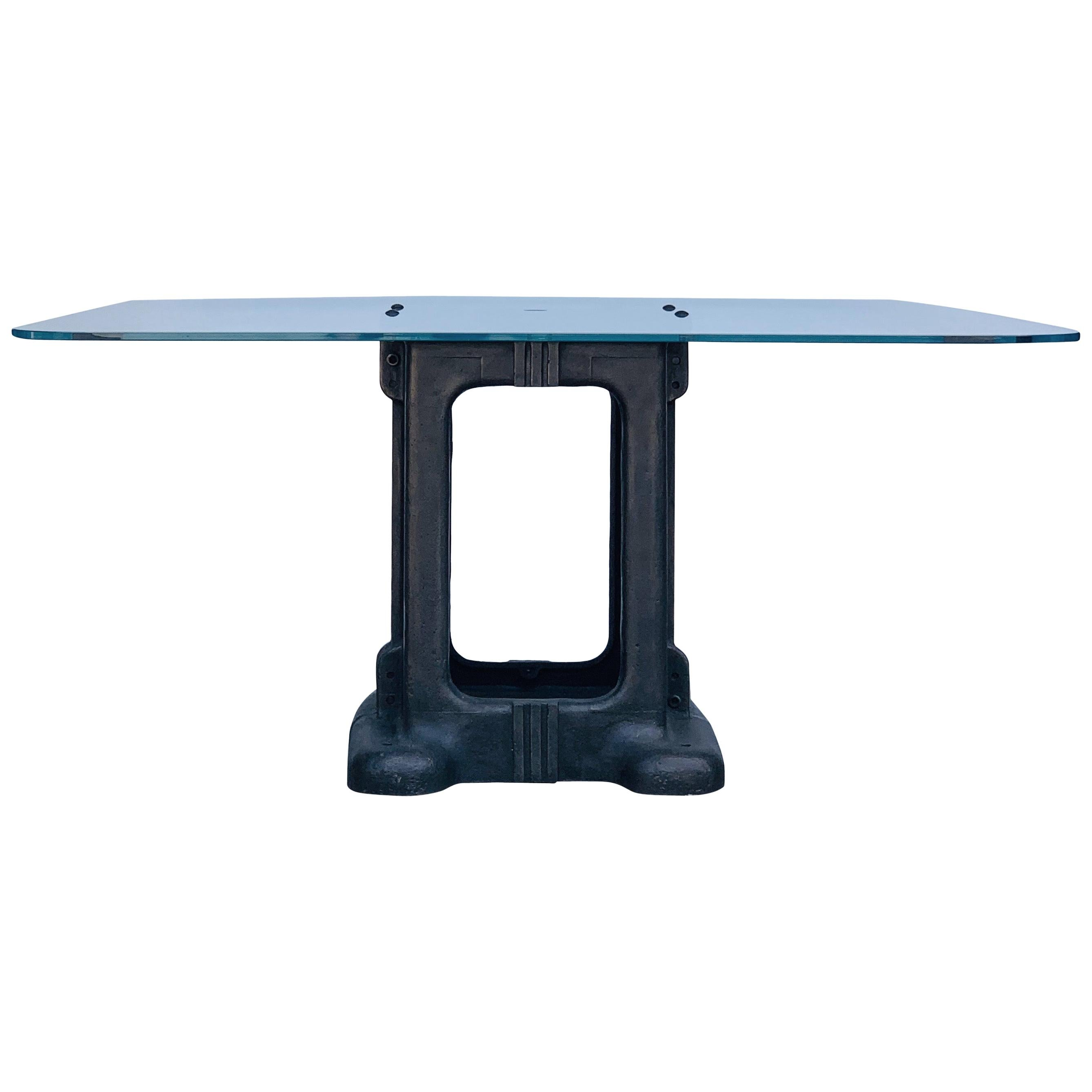Sculptural Cast Iron Pedestal and Glass Industrial Dining / Work Table