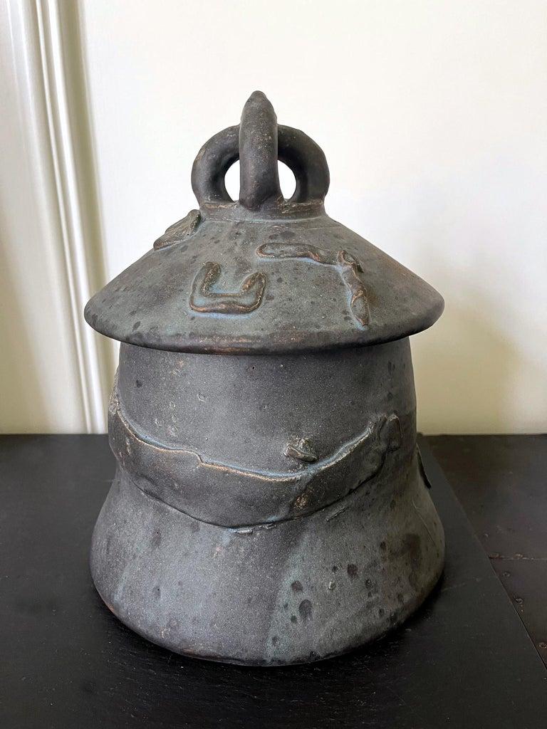 A glazed stoneware jar with lid by American Ceramist Robert Chapman Turner (1913-2005) entitled