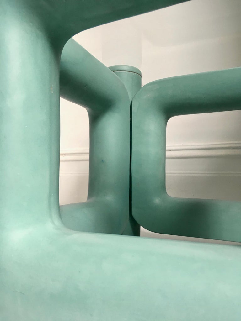 Sculptural Ceramic Coffee Table with Blue-Turquoise Satin Glaze, Italy, 1970s For Sale 1