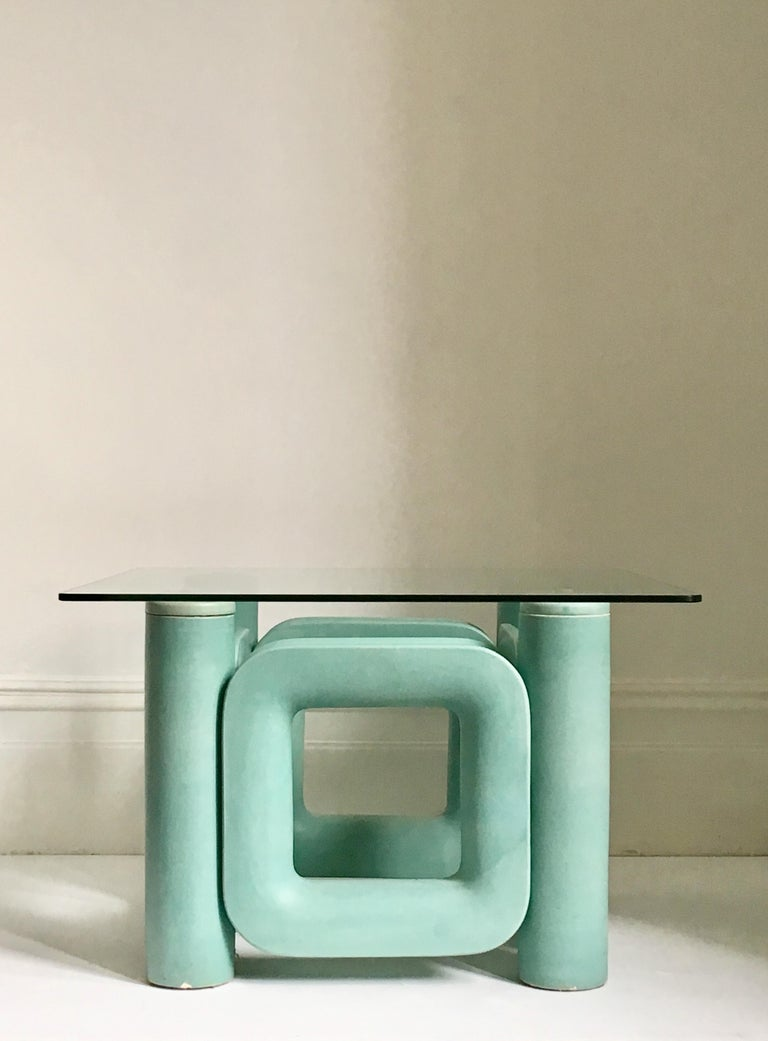 Sculptural Ceramic Coffee Table with Blue-Turquoise Satin Glaze, Italy, 1970s For Sale 9