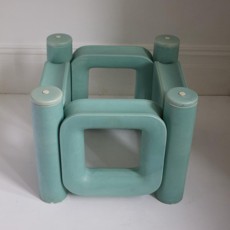 Sculptural Ceramic Coffee Table with Blue-Turquoise Satin Glaze, Italy, 1970s For Sale 3