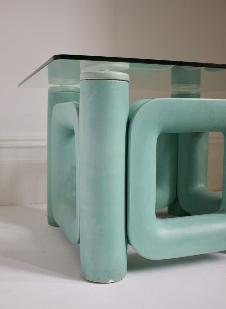 Italian Sculptural Ceramic Coffee Table with Blue-Turquoise Satin Glaze, Italy, 1970s For Sale