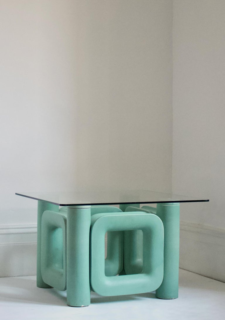 Post-Modern Sculptural Ceramic Coffee Table with Blue-Turquoise Satin Glaze, Italy, 1970s For Sale