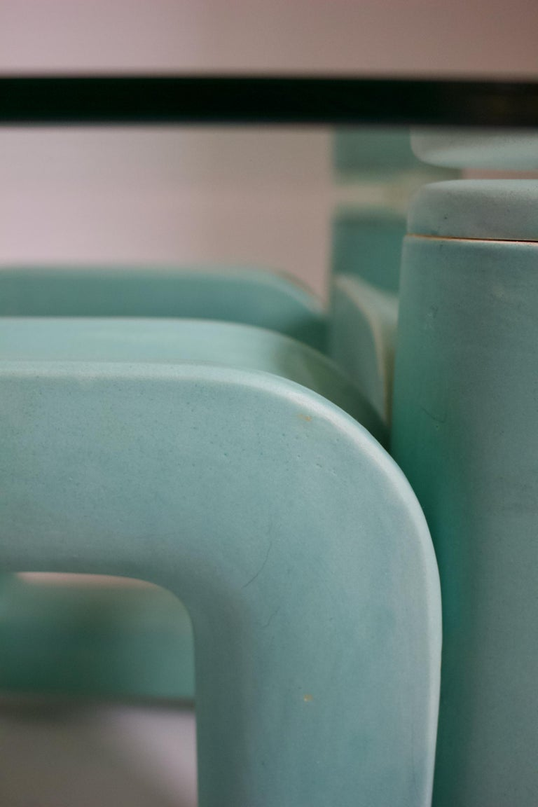 Sculptural Ceramic Coffee Table with Blue-Turquoise Satin Glaze, Italy, 1970s For Sale 2