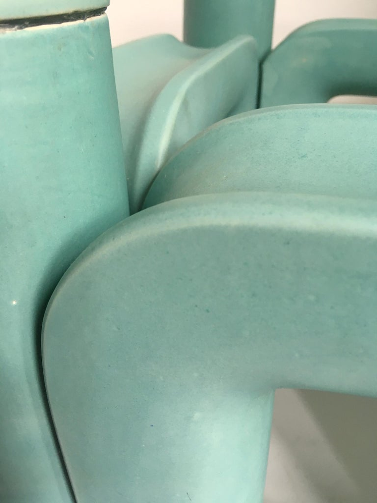 Sculptural Ceramic Coffee Table with Blue-Turquoise Satin Glaze, Italy, 1970s In Good Condition For Sale In London, GB