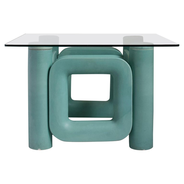 Sculptural Ceramic Coffee Table with Blue-Turquoise Satin Glaze, Italy, 1970s For Sale