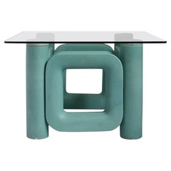 Sculptural Ceramic Coffee Table with Blue-Turquoise Satin Glaze, Italy, 1970s