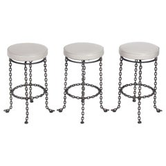 Sculptural Chain Bar Stools in Edelman Leather