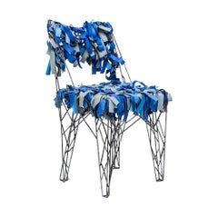 Sculptural Chair Welded Metal with Blue Leather by Italiananacleto Spazzapan