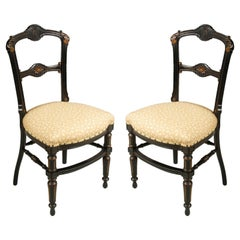 Sculptural Chairs Art Nouveau by Giacomo Cometti in Ebonized Hand Carved Walnut
