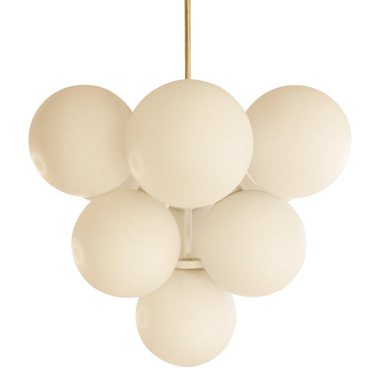 Mid-Century Modern Sculptural Chandelier in Brass with White Glass Globes, 1960s For Sale