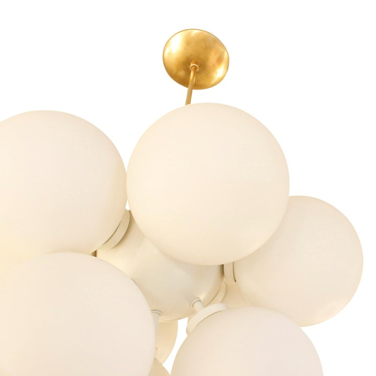 Sculptural Chandelier in Brass with White Glass Globes, 1960s In Excellent Condition For Sale In New York, NY