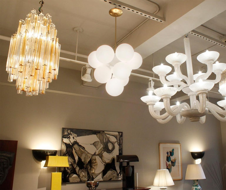 Mid-20th Century Sculptural Chandelier in Brass with White Glass Globes, 1960s For Sale