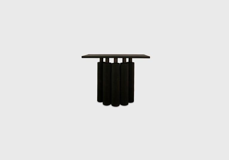 Scandinavian Modern Sculptural Charcoal Walnut and Oak Console Table For Sale