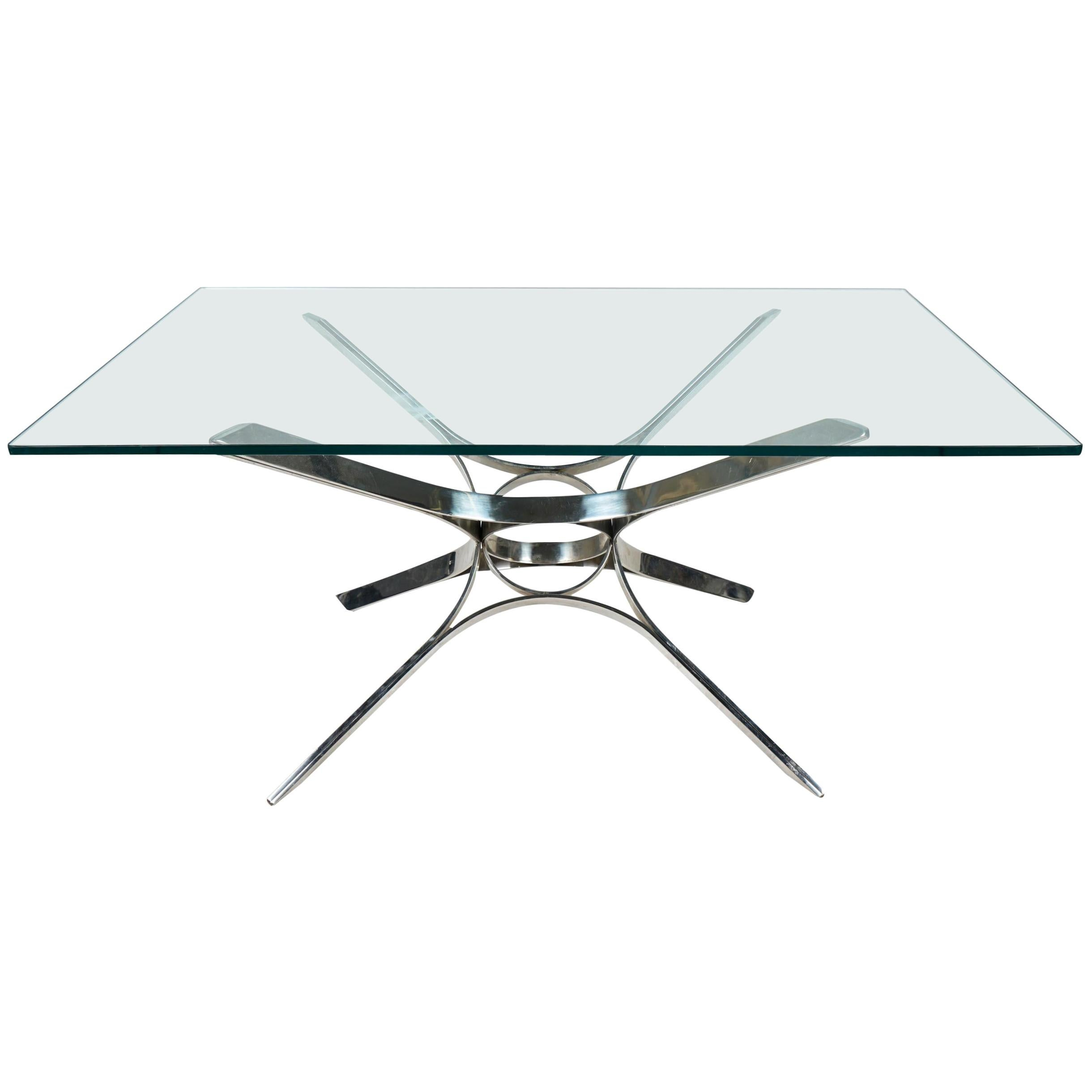 Sculptural Chrome and Glass Coffee Table by Roger Sprunger for Dunbar