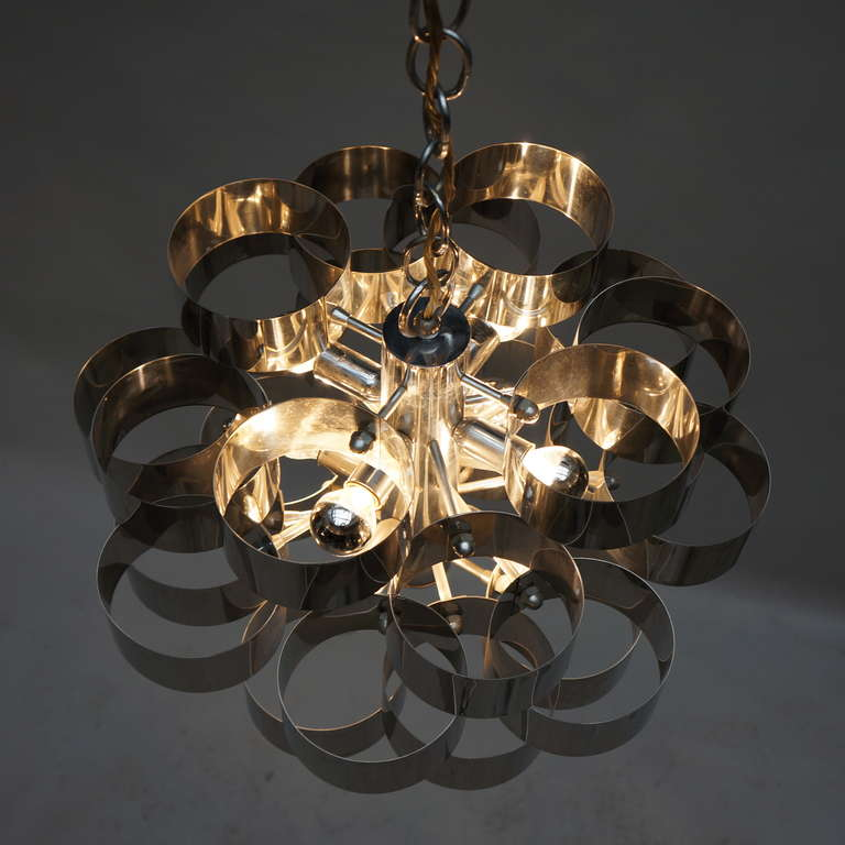 Space Age Sculptural Chrome Chandelier by Sciolari For Sale