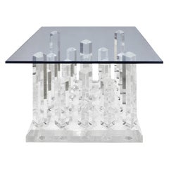 Sculptural Coffee / End Table with Cityscape Lucite Base and Glass Top, 1970s