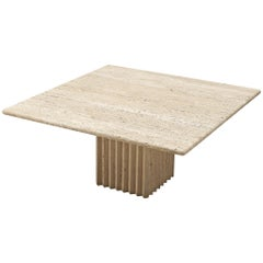 Sculptural Coffee Table in Travertine