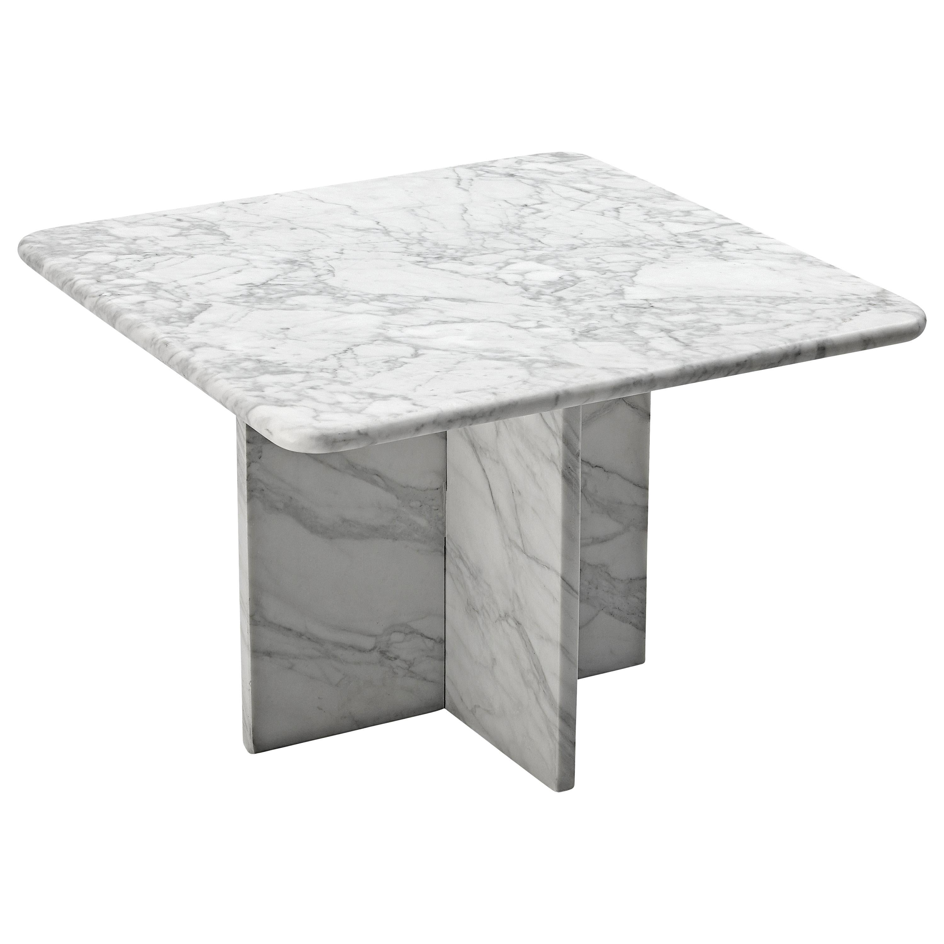Sculptural Coffee Table in White Marble