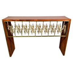 Sculptural Console by Luciano Frigerio in Palisander and Brass, 1970s