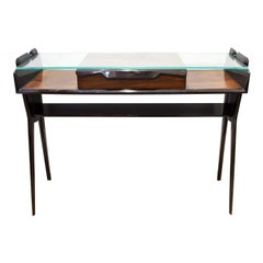 Sculptural Console Table in Dark Walnut with Glass Top, 1950s