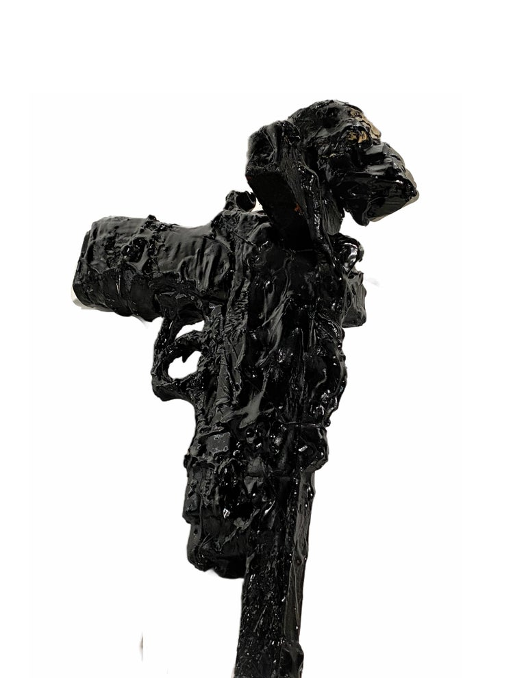 American Black Sculptural Cross and Gun in TAR, 21st Century by Mattia Biagi For Sale
