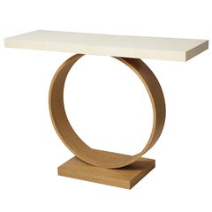 Sculptural Custom Cerused Oak and Parchment Console