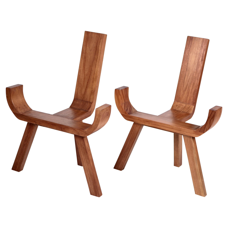 Sculptural Danish Easy Chairs, Solid Teak, 1960s