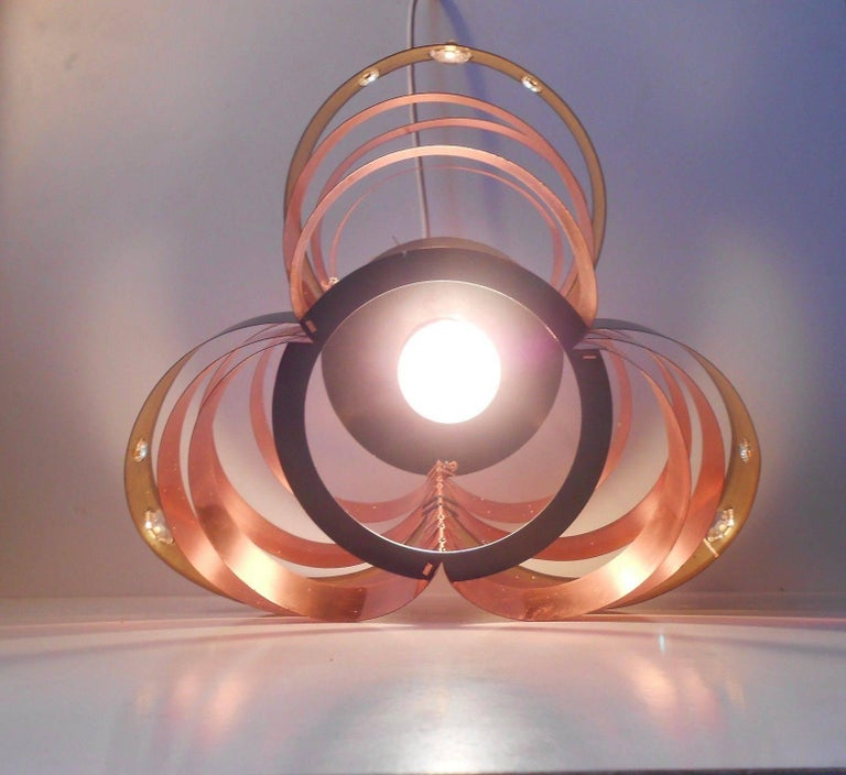 Sculptural Danish Modern Copper Ceiling Lamp by Verner Schou, Coronell, 1970s In Good Condition For Sale In Esbjerg, DK