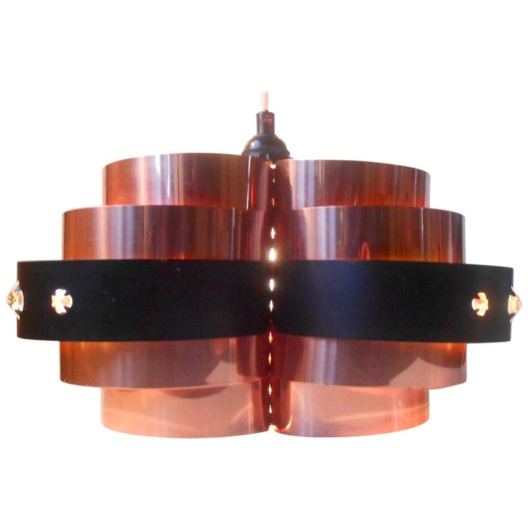 Sculptural Danish Modern Copper Ceiling Lamp by Verner Schou, Coronell, 1970s For Sale