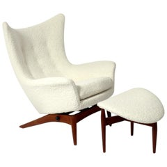 Sculptural Danish Modern Lounge Chair and Ottoman by H.W. Klein
