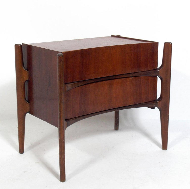 Sculptural Danish modern style nightstands or end tables, designed by William Hinn for Urban Furniture, Sweden, circa 1950s. This set is currently being refinished and will look incredible when completed. The price noted includes refinishing. They
