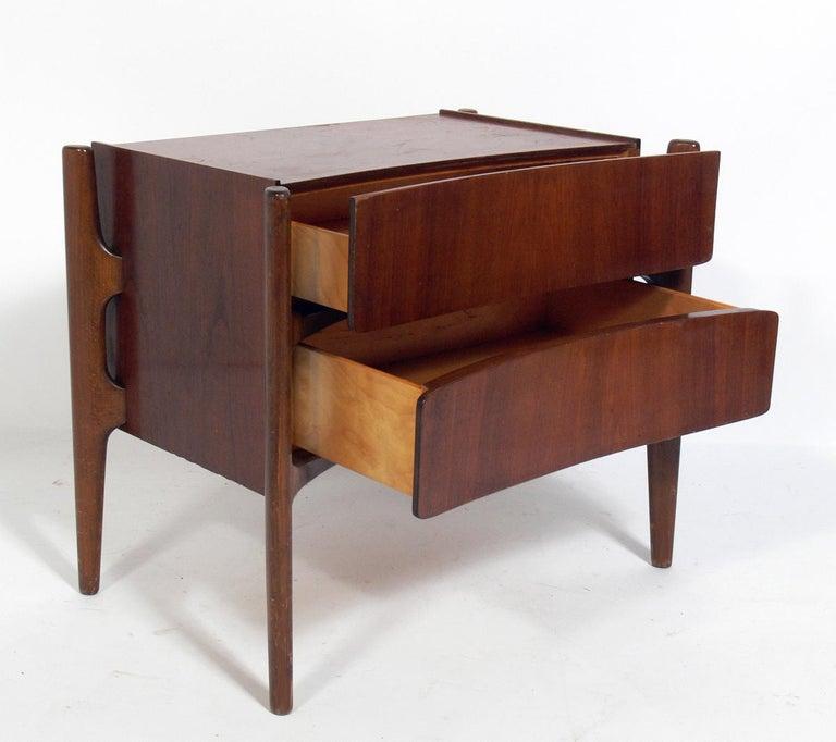 Swedish Sculptural Danish Modern Nightstands by William Hinn For Sale
