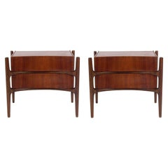 Sculptural Danish Modern Nightstands by William Hinn