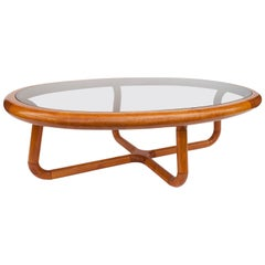 Sculptural Danish Teak and Glass Coffee Table for Uldum Møbelfabrik