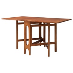 Sculptural Dining Table with Two Drop Leaves in Teak, Denmark, 1960's