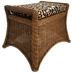 Sculptural Draped Wicker Bench with Animal Print Cushion
