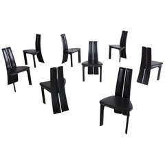 Sculptural Ebonized Oak Dining Chairs, Set of Eight
